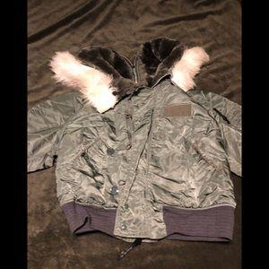 Military Issue N2B Flight Parka w faux fur
